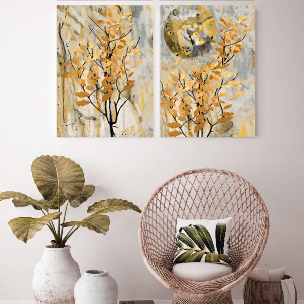 2'li Kombin Sarı Yapraklar Kanvas Tablo