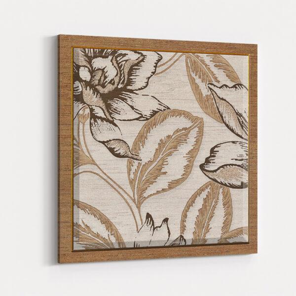 3'lü Kombin Dekoratif Çiçek Yaprak Desenli Kanvas Tablo
