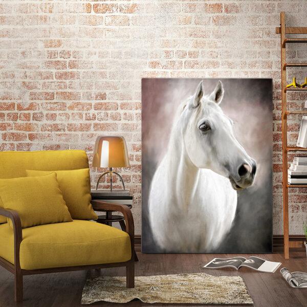 Beyaz At Yağlı Boya Görünümlü Kanvas Tablo