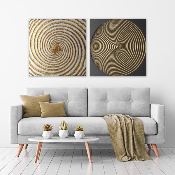 2'li Kombin Dekoratif Spiral Modern Kanvas Tablo